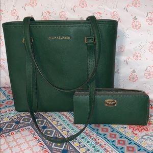 Moss green Michael kors purse and wallet